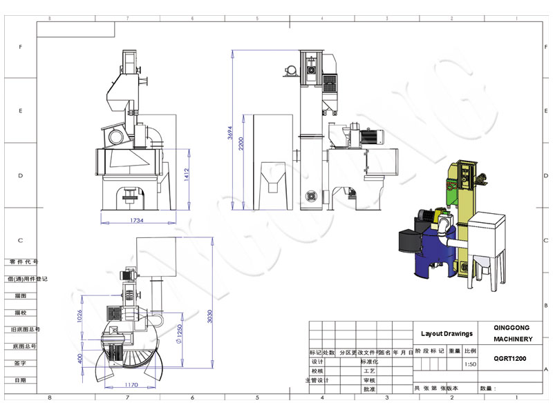 Rotary Table Tipo Shot Blast Machine Layout CAD Drawing